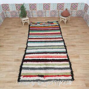 Moroccan Wool Rug, Handmade Tribal Rug, Boucherouite Rag Rug, LGBT Carpet