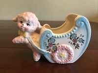 VTG LAMB PULLING A CART CERAMIC PLANTER INARCO E- 6207 Japan Pink & Blue 1950s