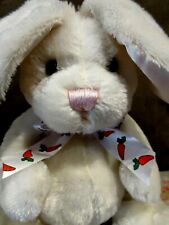 """Plush Stuffed Bunny ~ Fluffy White Easter Bunny~ Long Ears~Sits 8.5"""" ~New"""