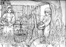 COLORING PAGE Cute Country Kids to color or frame,realistic pen drawing signed