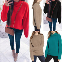 Women Ladies Winter Warm Turtle Neck Tops Chunky Knitted Loose Sweater Jumper UK