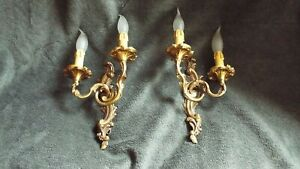 lamp Wall Sconces applied light pair Antique Double Arm bronze antique French