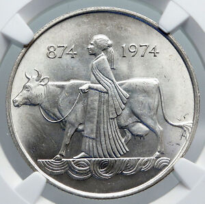 1974 ICELAND FOUR SPIRITS & COW WOMAN Vintage Silver 500 Kronor Coin NGC i89317