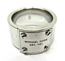 """Michael Kors Silver Tone Solid Band Ring w/ """"Screw On"""" MK Logo Ring Size 6"""