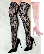 Womens Black Pink Over The Knee Thigh High Stiletto Heel  Stretch Calf Leg Boots