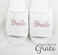 BRIDE Slippers Bridal Wedding Personalised Customised Pink Rhinestones Hens