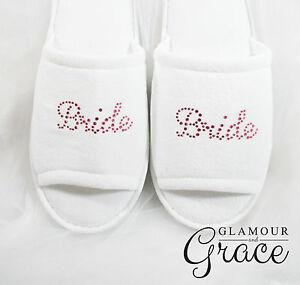 BRIDE Slippers Bridal Wedding Personalised Customised Pink Rhinestones Hens