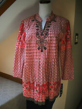 Style & Co. Casual Tunic Top Geometric Orange 3/4 Sleeve Cotton Sz 6. $46