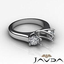 Round Diamond 3 Stone Anniversary Semi Mount Unique Ring 14k White Gold 0.5Ct