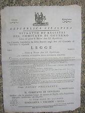 P833-REP.CISALPINA-MANIFESTO SULLE POLVERI DA SPARO 1801