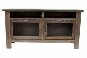 """Crafters and Weavers Emerson Rustic Solid Wood 60"""" TV Stand - Rustic Walnut"""