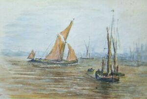 BRITISH MINIATURE WATERCOLOUR - HARBOUR -  1908 - SK6