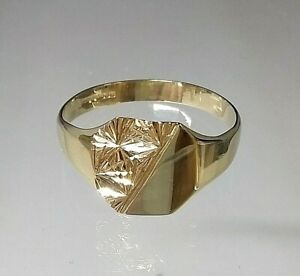 9ct Gold Vintage Signet Ring Gents Not Filled/Plated REAL GOLD   size U
