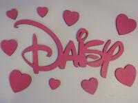 Personalised Wooden Name Plaques Letters DISNEY hearts bedroom wall/door/ PINK