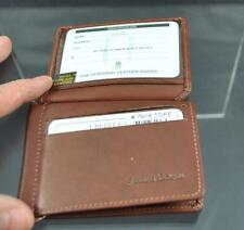 ili World Leather Front Flap RFID Card Holder Money Clip Inside Toffee Brown G23