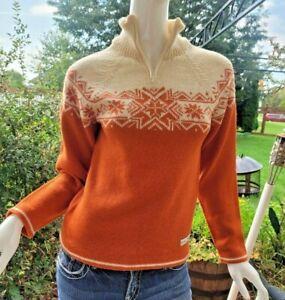 DALE OF NORWAY -S 100% Wool Orange/Cream Scandinavian 1/4 Zip Pullover Sweater