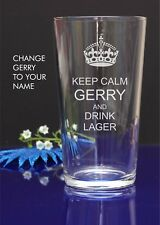 """Personalised Engraved Glass-""""KEEP CALM AND DRINK LAGER""""Christmas Birthday Gift10"""
