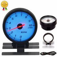 "2.5"" 60MM Car Tachometer 0-10000 RPM Gauge RPM Meter With White & Blue Lighting"