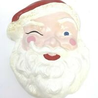 Vintage MCM Winking Santa Claus Plaster Chalkware Wall Hanging 14 Inches Tall