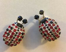Vintage Dorothy Bauer Ladybug Insect Red Black Rhinestone Clip on Earrings