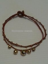 Handmade Hippy Jingle Bell Anklet Bracelet - Brown