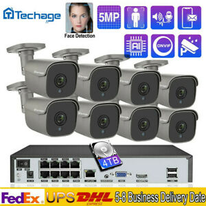 8CH 5MP 48V POE IP CCTV NVR Outdoor Home Video Network Security Camera System
