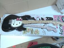 HELLO KITTY RARE BLACK FENDER SQUIER STRATOCASTER GUITAR - BRAND NEW - FREE SHIP