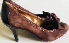 Naturalizer Women Leather/Suede Stiletto Shoes Brown Size 7,5 W Bow Decoration