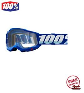 100% ACCURI GEN 2 MEN'S DIRT MX OFFROAD OVER THE GLASSES GOGGLE BLUE WITH CLEAR