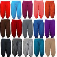 3/4 Harem Baggy Shorts Women Plain Cropped Ali Baba Ladies Trousers Pants 8-26