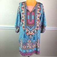 NLW Womens Tunic Top Tassel Tie Boho 3/4 Sleeve Ruched Sleeve Size M