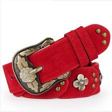 Top quality Leisure Womens Ladies Belt Genuine Leather Vintage Flower Pin Buckle