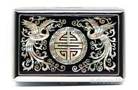 Mother of Pearl Phoenix Metal Cigarette Tobacco Holder Credit Card Case Box