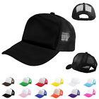 Unisex Baseball Cap Trucker Hat Blank Curved Hat Mesh Adjustable Plain Color Cap
