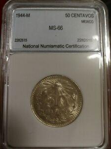 Mexico Silver 50 Centavos 1944 MS66