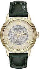 Mens Emporio Armani Meccanico skeleton dark green leather watch AR4671