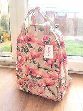 Cath Kidston Tan Red Roses &Leaves Flower Backpack Shoulder Bag Handbag Rucksack