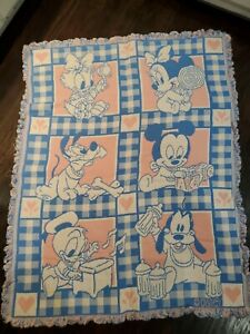 Disney Vintage Woven Knit Baby Blanket Mickey Mouse Minnie Donald Duck Pluto EUC
