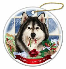 Alaskan Malamute Dog Porcelain Hanging Ornament Pet 'Santa I Can Explain!