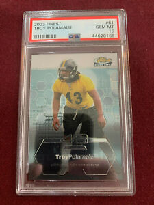 Troy Polamalu 2003 Topps Finest Rookie Card RC PSA 10 Gem Mt Steelers HOF!