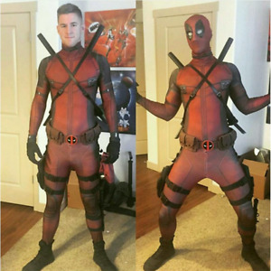 Deadpool Costume Kids Adults Cosplay Tights Jumpsuit +Mask+ Accessories Full Set