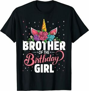 Birthday Party Family T-Shirt S-5XL Brother Of The Birthday Lovely Girl Unicorn