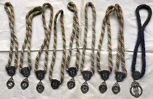 Lot of 9 IOOF Odd Fellows Medals Braided Rope Fraternal Masonic Medallions Sash