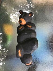"Big Sky Carvers Jeff Fleming Chillin Black Bear Wood Carving Sculpture 11"""