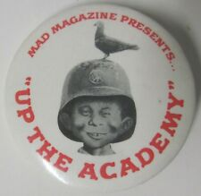 """1980 MAD MAGAZINE ALRED E. NEUMAN """"UP THE ACADEMY"""" PROMO PIN BACK BUTTON 1 1/2"""""""