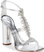 $1,250 New Box GIUSEPPE ZANOTTI sandals shoes FISHBONE CRYSTAL SILVER 38 7.5-7