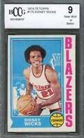 Sidney Wicks Card 1974-75 Topps #175 Portland Blazers BGS BCCG 9