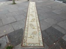 ANTIQUE FAIT MAIN ART DECO Oriental Marron Laine Chinois Long Runner 548x70cm
