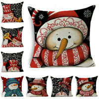 Snowman Pattern Winter Pillow Case Throw Pillow Cushion Cover Sofa Car Decor
