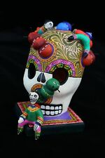 Finely Detailed Skull Caterpillars & Boys Day of the Dead Mexico Folk Art Puebla